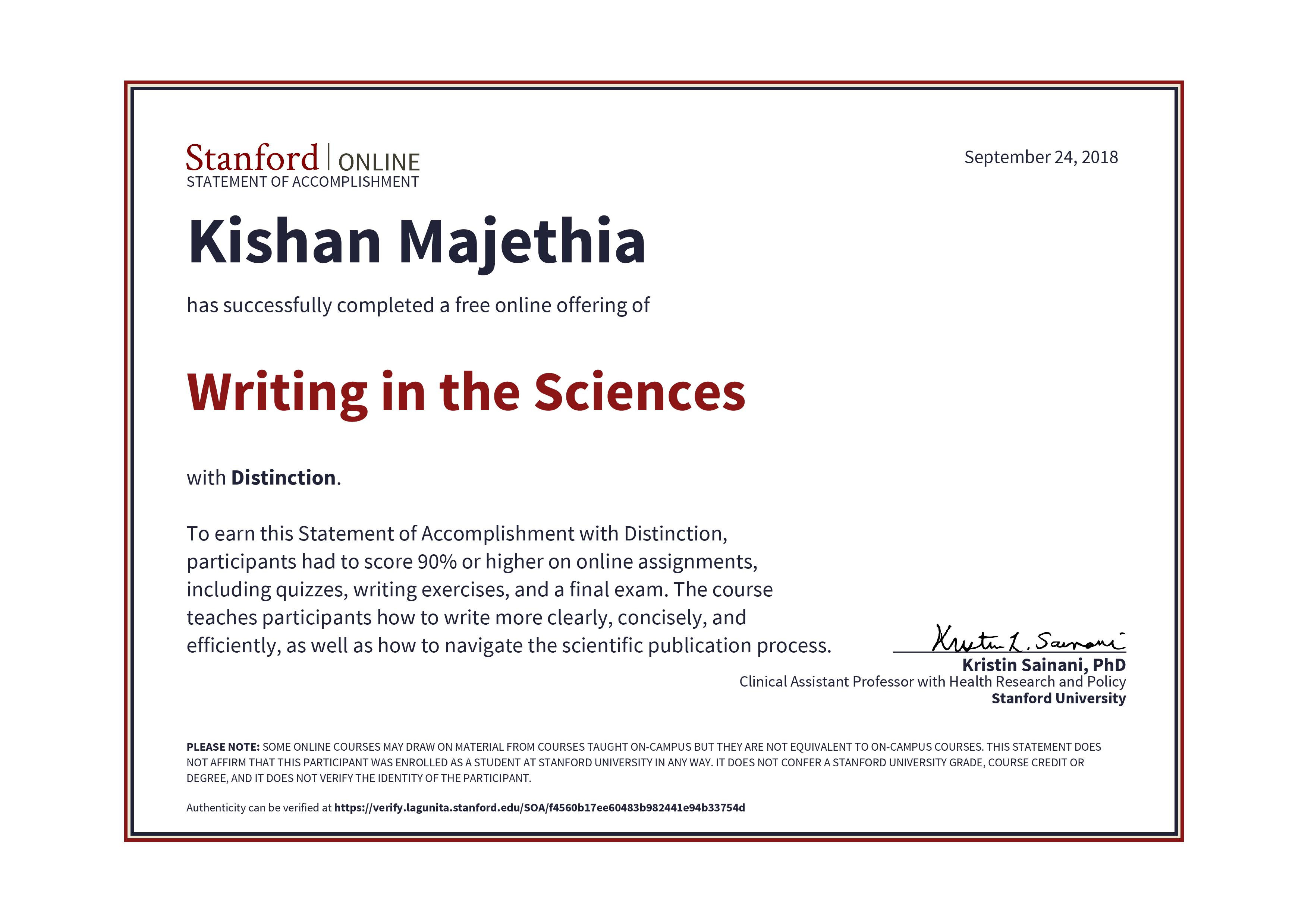 Mooc Writing In Sciences Stanford University With